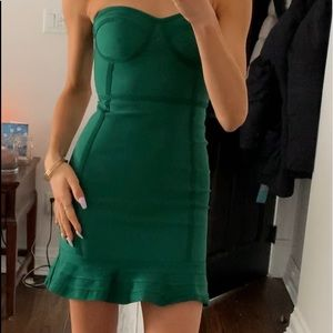 PRETTYLITTLETHING bodycon bandage green dress